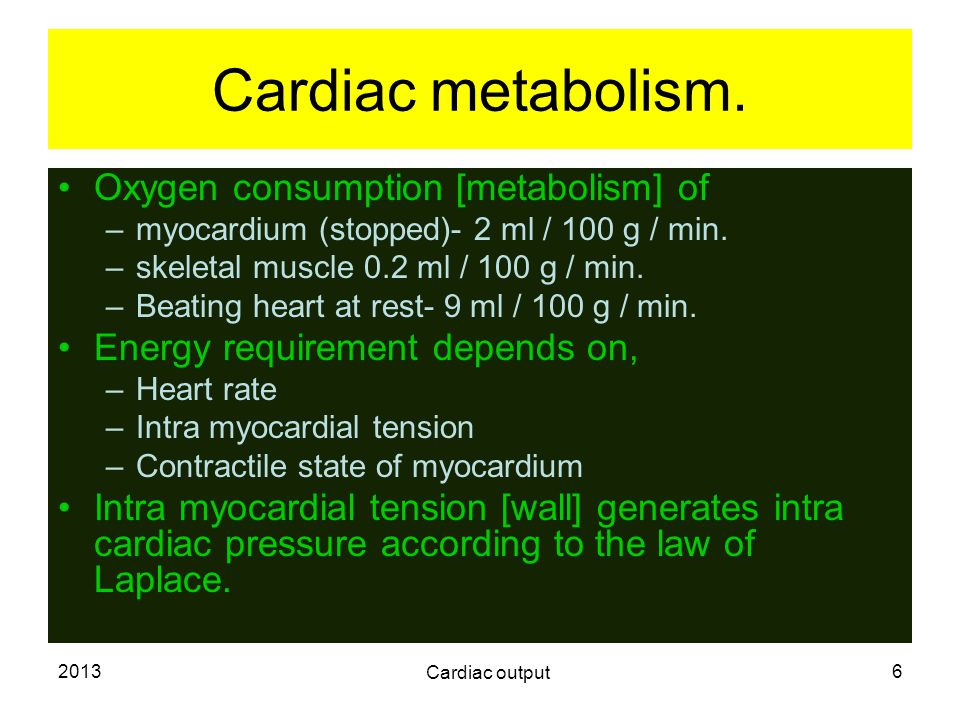 Cardiac metabolism. Oxygen consumption [metabolism] of